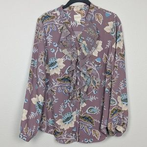 Chico's Purple Ruffle Front Floral Blouse Size S